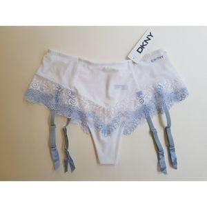 DKNY French Thong and Garter Sheer Lace Panties